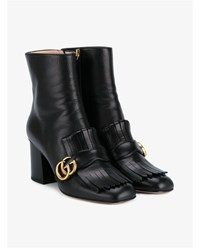 Gucci Leather Marmont Booties Black