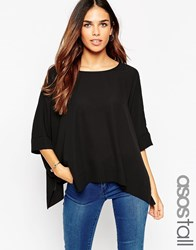 Asos Tall Oversized Kimono T Shirt With V Back Black