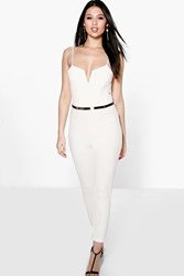 Boohoo Plunge Belted Jumpsuit Ivory