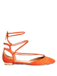 Aquazzura Austin Wraparound Suede Flats Orange