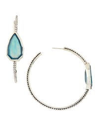 Stephen Dweck Large Cathedral Hoop Earrings W Blue Agate