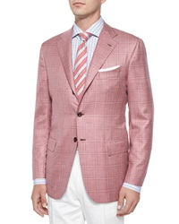 Kiton Cashmere Silk Plaid Two Button Jacket Soft Red