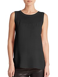 Vince Sheer Inset Sleeveless Top Black