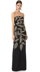 Lela Rose Embroidered Column Gown Black Gold