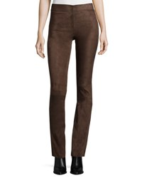 Joseph Suede Flare Legging Pants Dark Tan