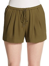 Haute Hippie Silk Drawstring Shorts Fatigue