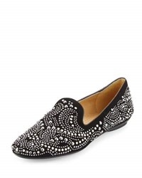 Neiman Marcus Studded Suede Loafer Black