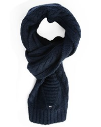 Tommy Hilfiger Blue Cable Knit Woollen Scarf