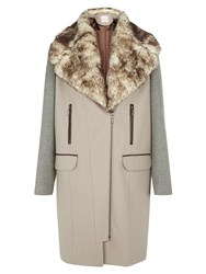 Kaliko Neutral Colour Block Coat Multi Coloured