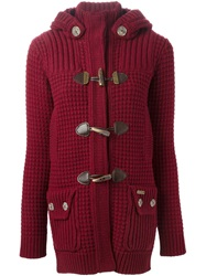 Bark Hooded Cardigan Red