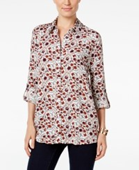 Styleandco. Style Co. Floral Print Roll Tab Shirt Only At Macy's Feminine Floral