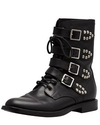 Saint Laurent Studded Strapped Motorcycle Boot Black