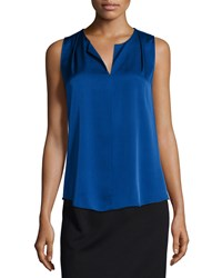 Halston Sleeveless Split Neck Top Bright Indigo