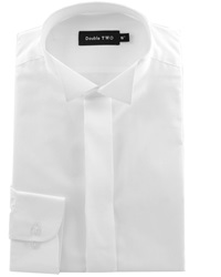 Double Two King Size Wing Collar Plain Fly Front Shirt White