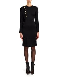 Alexis Mabille Dress In Black Jersey With Anchor Buttons Detail