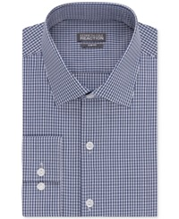 Kenneth Cole Reaction Slim Fit Performance Check Dress Shirt Blue
