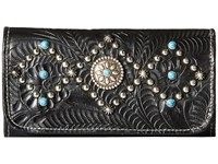 American West Canyon Creek Tri Fold Wallet Black Wallet Handbags