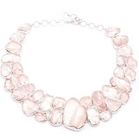 Poppy Jewellery Rose Quartz Gemstone Statement Silver Necklace Pink Purple