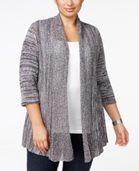 Belldini Plus Size Lightweight Marled Cardigan White Black