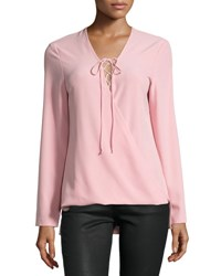 Neiman Marcus Crepe Lace Up Long Sleeve Top Pink