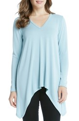 Karen Kane Women's Handkerchief V Neck Tunic Ice Blue