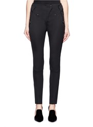 Esteban Cortazar Zip Cuff Tuck Pleat Side Slim Leg Pants Black