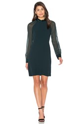 Ikks Paris Sheer Long Sleeve Shift Dress Dark Green