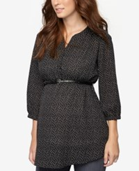 A Pea In The Pod Maternity Printed Belted Tunic Black
