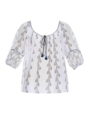 Thierry Colson Evita Feather Print Cotton Top