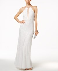 Adrianna Papell Sequin Open Back Halter Dress Ivory