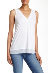 14Th And Union V Neck Trim Detail Tank White