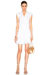 Veronica Beard Fountain Ruched Poplin Circle Skirt Dress In White