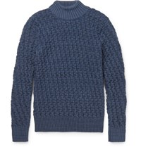 S.N.S. Herning .N. Tark Baketweave Virgin And Merino Wool Blend Weater Blue