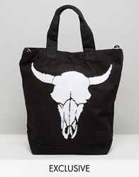 Reclaimed Vintage Tote With Large Skull Patch Black