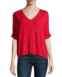 Christopher Fischer Cashmere Ruana Short Sleeve Poncho Red