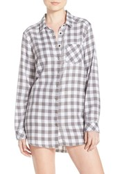 Make Model Women's Plaid Night Shirt Grey Flannel Nikki Check