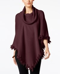 Alfani Faux Fur Trim Poncho Sweater Only At Macy's New Wine
