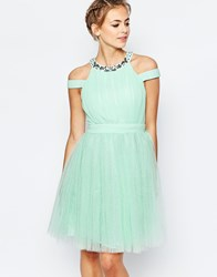 Little Mistress High Neck Tulle Dress With Embellished Neck Mint