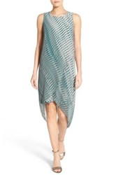 Nic Zoe 'Endless Nights' Print High Low Wrap Front Shift Dress Green
