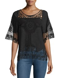 Liquid By Sioni Half Sleeve Crochet Trim Blouse Black