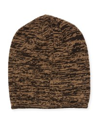 Portolano Marled Knit Beanie Hat Dark Brown Hazlenut