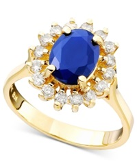 Effy Collection Royalty Inspired By Effy Sapphire 1 9 10 Ct. T.W. And Diamond 1 2 Ct. T.W. Oval Ring In 14K Gold Blue