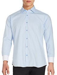 Jared Lang Long Sleeve Checked Inset Sportshirt Light Blue
