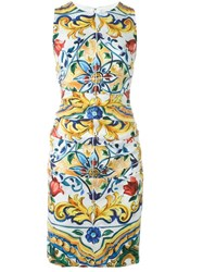 Dolce And Gabbana Majolica Print Fitted Dress Multicolour