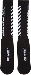 Off White Black Diagonal Logo Socks