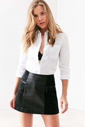 Cooperative Bernice Suede Panel Leather Mini Skirt Black