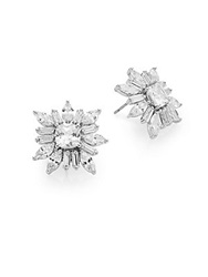 Cz By Kenneth Jay Lane Floral Cushion Cluster Earrings