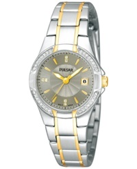 Pulsar Women's Two Tone Stainless Steel Bracelet Watch 27Mm Ph7294 Women's Shoes