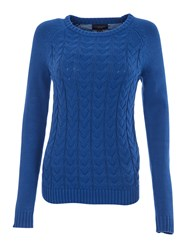Lands' End Women S Drifter Mixed Stitch Crew Neck Cobalt