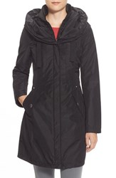 Women's Laundry By Shelli Segal Pillow Collar Raincoat With Detachable Quilted Hooded Bib Insert